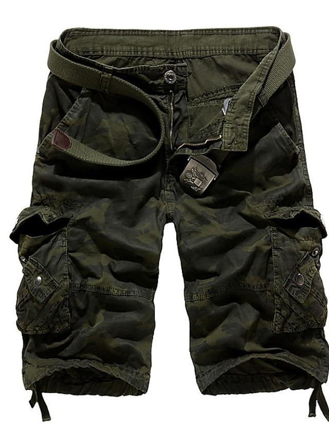 men's cargo shorts Half Trousers Casual Camo Tactical Shorts multi pockets over knee outdoor wear khaki 40