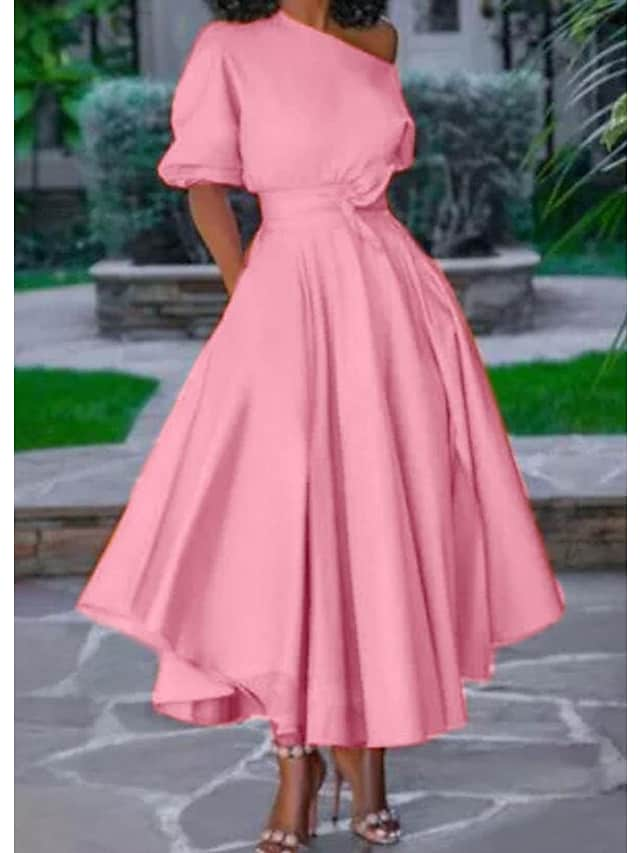 Women's Swing Dress Maxi long Dress Blushing Pink Gray Dusty Blue Orange White Black Half Sleeve Solid Color Lace up Patchwork Fall Spring cold shoulder Elegant Casual 2021 M L XL XXL