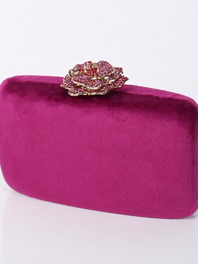 Γυναικεία Τσάντες Πολυεστέρας Βελούδο Βραδινή τσάντα Κρυστάλλινη λεπτομέρεια Αλυσίδα Μονόχρωμο Σκέτο Πάρτι Γάμου τσάντα βράδυ Τσάντες Χειρός Τσάντα αλυσίδας Μαύρο Κίτρινο Ανθισμένο Ροζ Φούξια