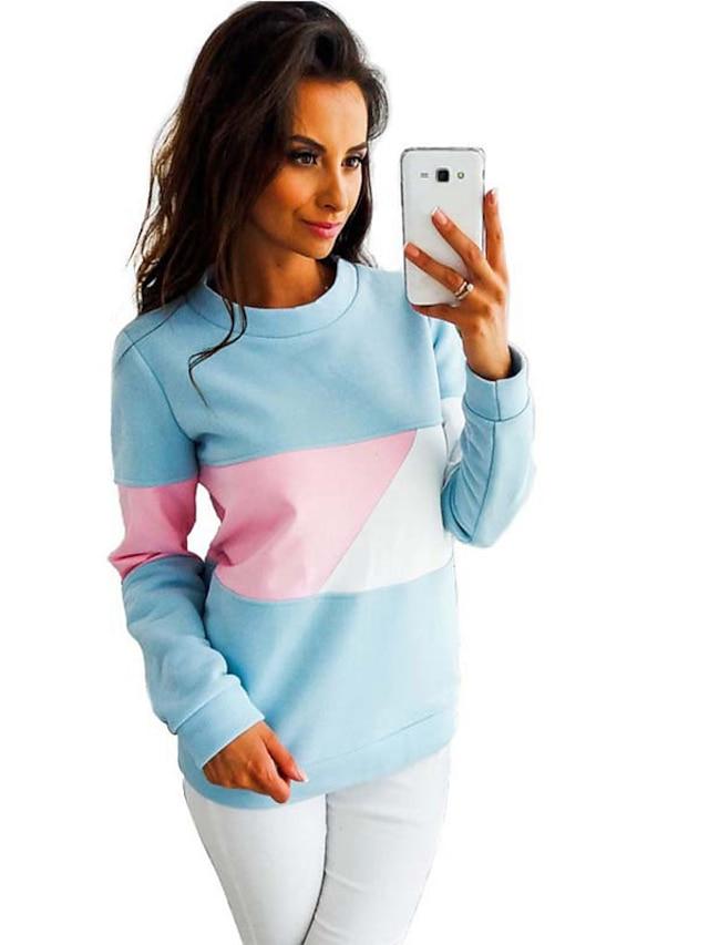 Dam Pullover-tröja Teddyrock Färgblock Dagligen Ledigt Pull Tröjor Blå Gul Rodnande Rosa