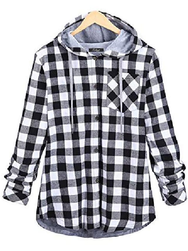 women's flannel plaid shirts full lined checked button down hooded shirt (grey, x-small)