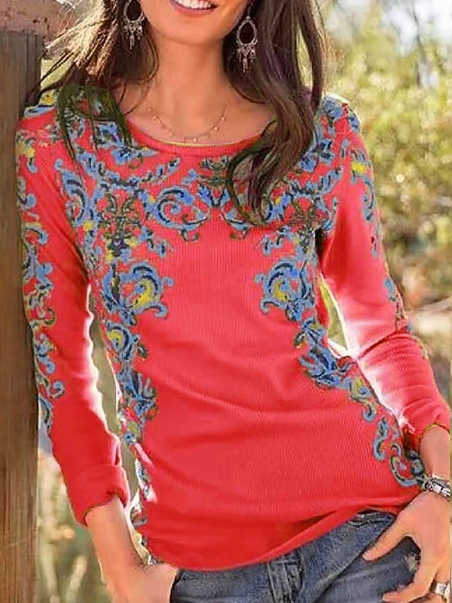 Women's T shirt Floral Graphic Prints Long Sleeve Print Round Neck Tops Basic Basic Top Red Yellow Fuchsia