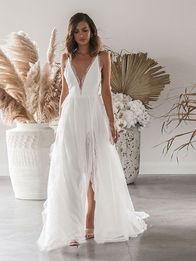 Women's Swing Dress Maxi long Dress White Sleeveless Solid Color Split Lace Spring Summer Deep V Elegant Romantic Sexy Party Holiday 2021 S M L XL