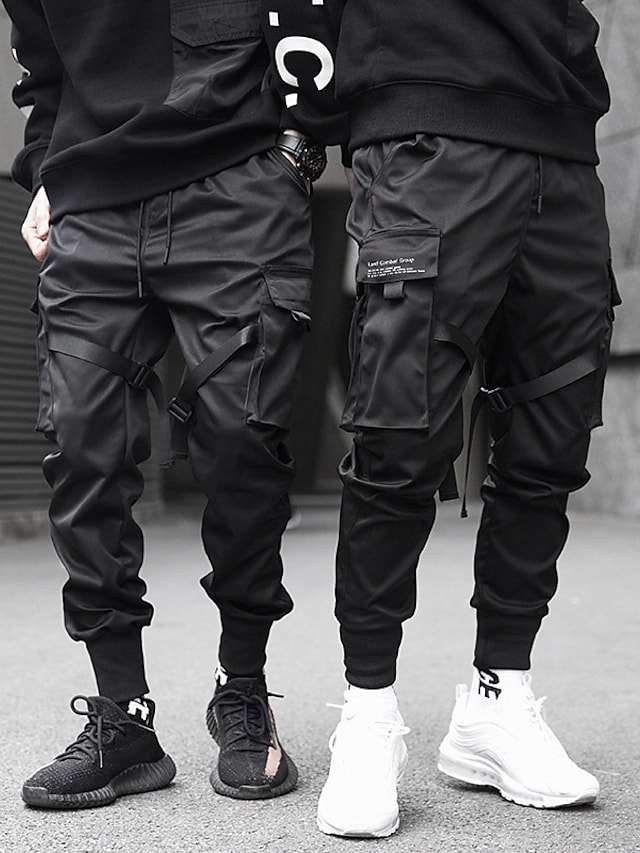 mens joggers pants long trousers multi-pockets Ribbon streetwear cargo pants outdoor fashion casual relaxed fit with drawstring pants