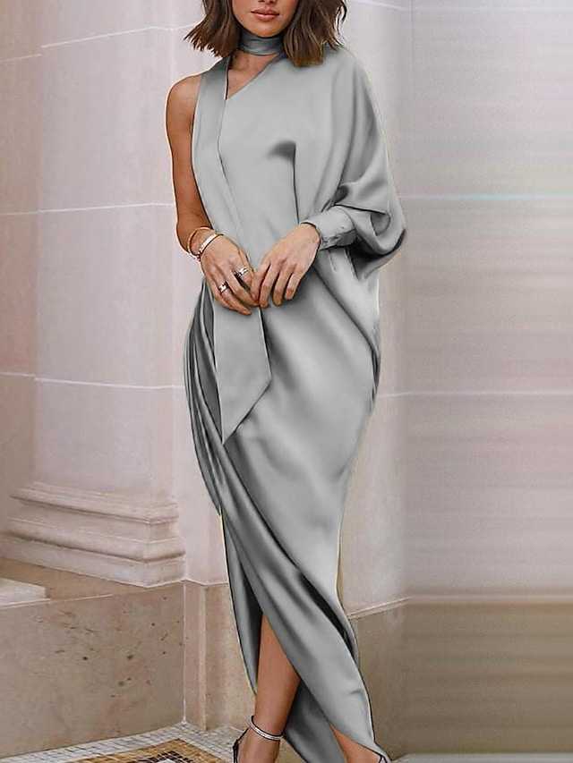 Women's Sheath Dress Maxi long Dress Gray Gold Red Long Sleeve Solid Color Plus High Low Fall Spring One Shoulder Elegant Formal Party Going out Loose 2021 S M L XL