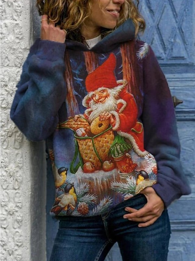 نسائي هوديي قف بجانب الطريق الرسم عيد الميلاد مناسب للبس اليومي كاجوال عيد الميلاد هوديس بلوزات فضفاض أزرق أخضر أحمر
