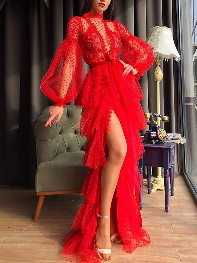 Women's Sheath Dress Maxi long Dress Red Long Sleeve Solid Color Split Lace up Mesh Fall Spring Crew Neck Elegant Sexy Party 2021 S M L XL