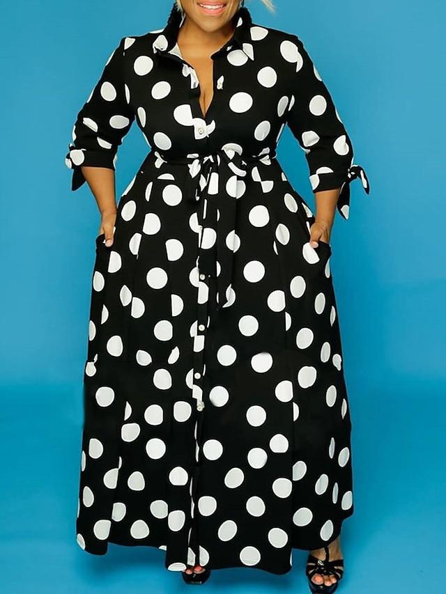 Women's Plus Size Dress Sheath Dress Midi Dress Long Sleeve Polka Dot Print Shirt Collar Casual Fall Spring Summer Black XL XXL 3XL 4XL 5XL