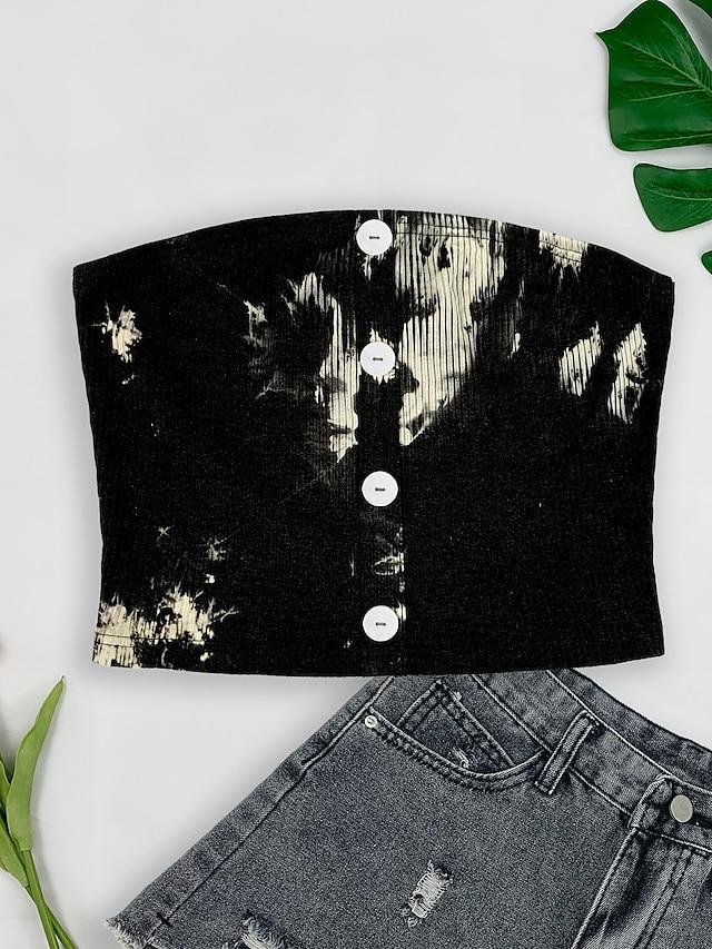 Mulheres Tubo Superior Cortar parte superior Tecido Tintura Tie Dye Botão Básico Blusas Sem Mangas Branco / Preto Branco Preto