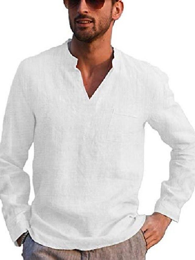 Hombre Camiseta henley Color sólido Bolsillo Manga Larga Calle Tops Algodón Sencillo Ligeras Casual Moda Bleu Ciel Vino Gris / Playa