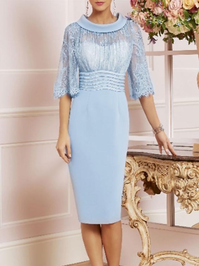 시스 / 칼럼 신부 어머니 드레스 시스루 쥬얼리 무릎 길이 샤르뫼즈 반 소매 와 레이스 허리끈 / 리본 2021