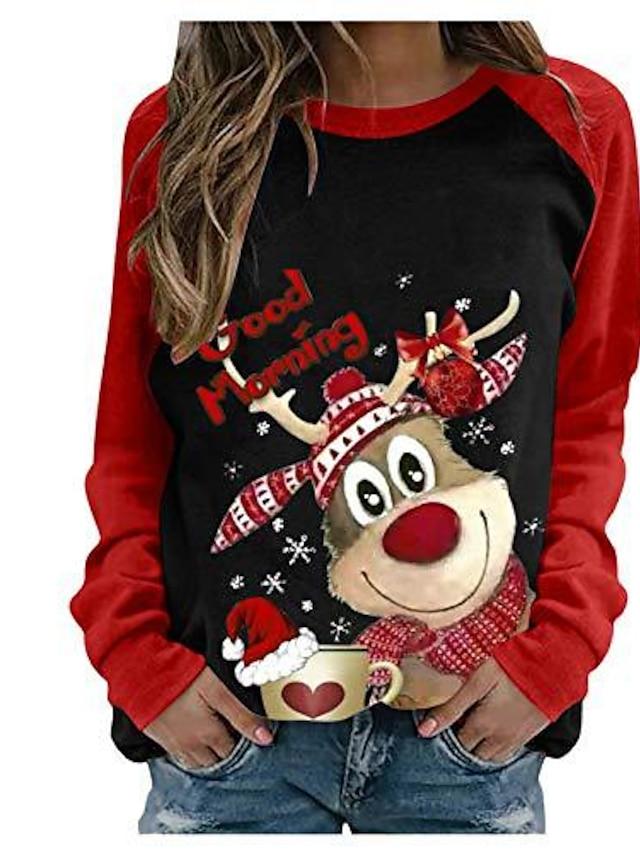 نسائي هوديي كنزة الرنة عيد الميلاد مناسب للبس اليومي كاجوال عيد الميلاد هوديس بلوزات فضفاض رمادي أبيض أسود