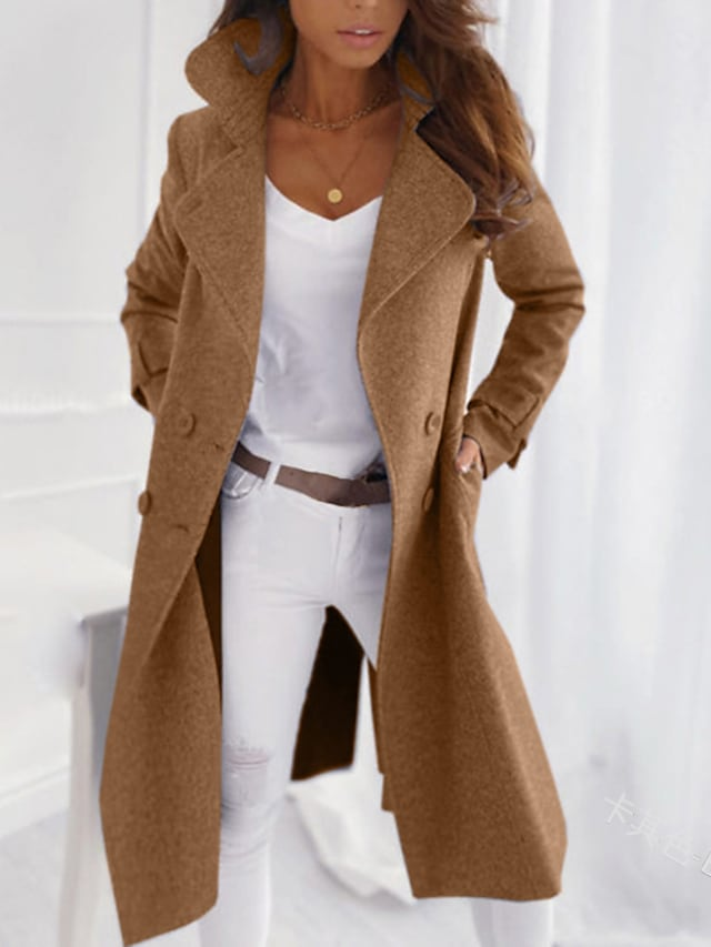 Women's Coat Outdoor clothing Daily Wear Date Winter Fall & Winter Long Coat V Neck Slim Fit Coats / Jackets Coats Jacket Long Sleeve Solid Color Classic Gray blue khaki Beige / Work