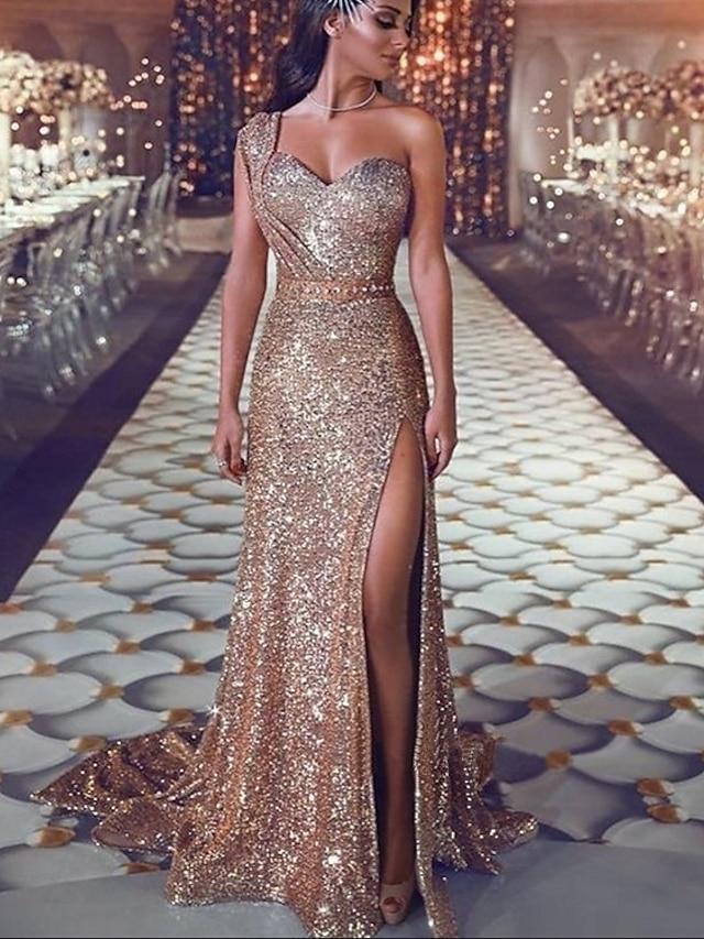 트럼펫 / 머메이드 스파클 섹시 약혼 포멀 이브닝 드레스 원 숄더 민소매 코트 트레인 스팽글 와 스팽글 트임 2021