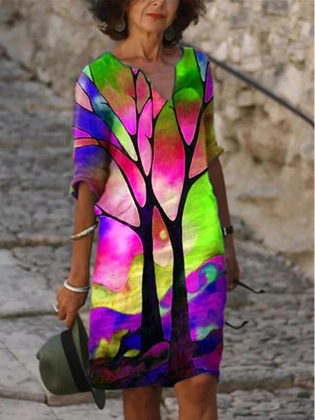 Women's A Line Dress Knee Length Dress Purple Blushing Pink Green 3/4 Length Sleeve Print Print Fall Spring V Neck Casual Loose 2021 S M L XL XXL 3XL