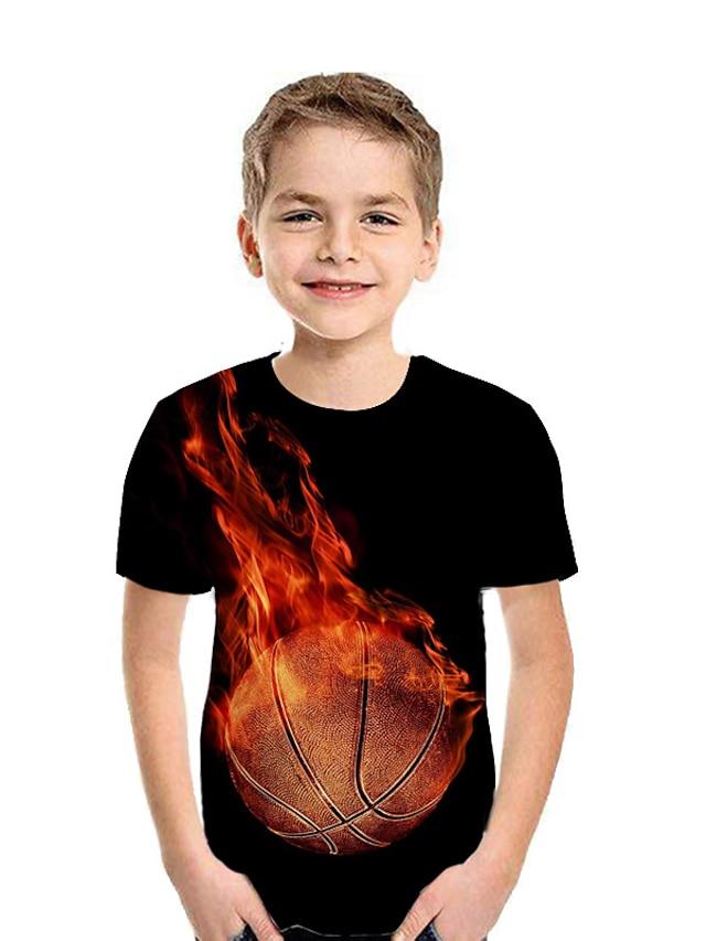 ילדים בנים חולצה קצרה טישירט שרוולים קצרים גראפי פייסלי 3D דפוס שחור יְלָדִים צמרות קיץ פעיל יום הילד
