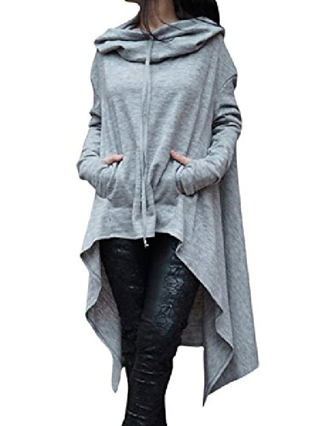 women's solid color pullover hoodie asymmetric hem sweatshirts dress grey