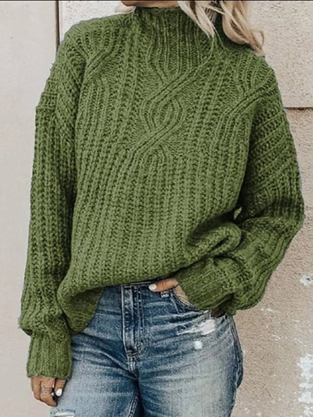 Women's Pullover Sweater Knitted Solid Color Vintage Style Casual Long Sleeve Loose Sweater Cardigans Turtleneck Fall Winter Blue Blushing Pink Army Green / Holiday