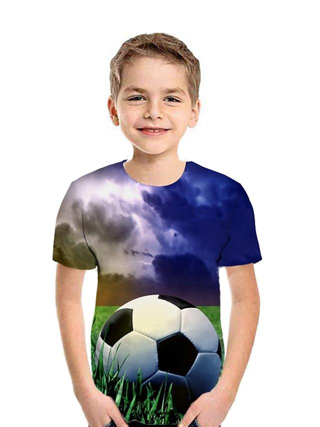 아동 남아 T 셔츠 티셔츠 짧은 소매 그래픽 컬러 블럭 3D 프린트 네이비 블루 어린이 탑스 활동적 어린이날