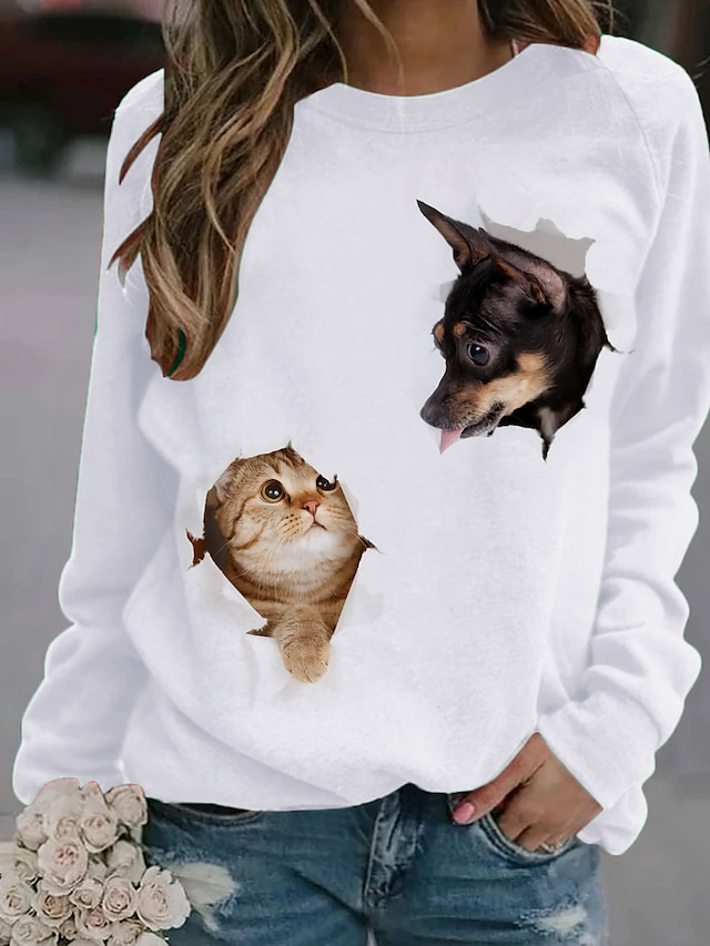Women's T shirt Cat Dog Animal Long Sleeve Print Round Neck Tops White