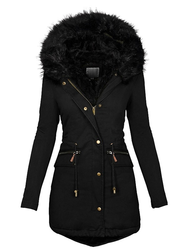 Women's Parka Daily Wear Fall Winter Long Coat Slim Fit Windproof Warm Chic Modern Jacket Long Sleeve Solid Color Fur Trim Wine Red Gray Lined