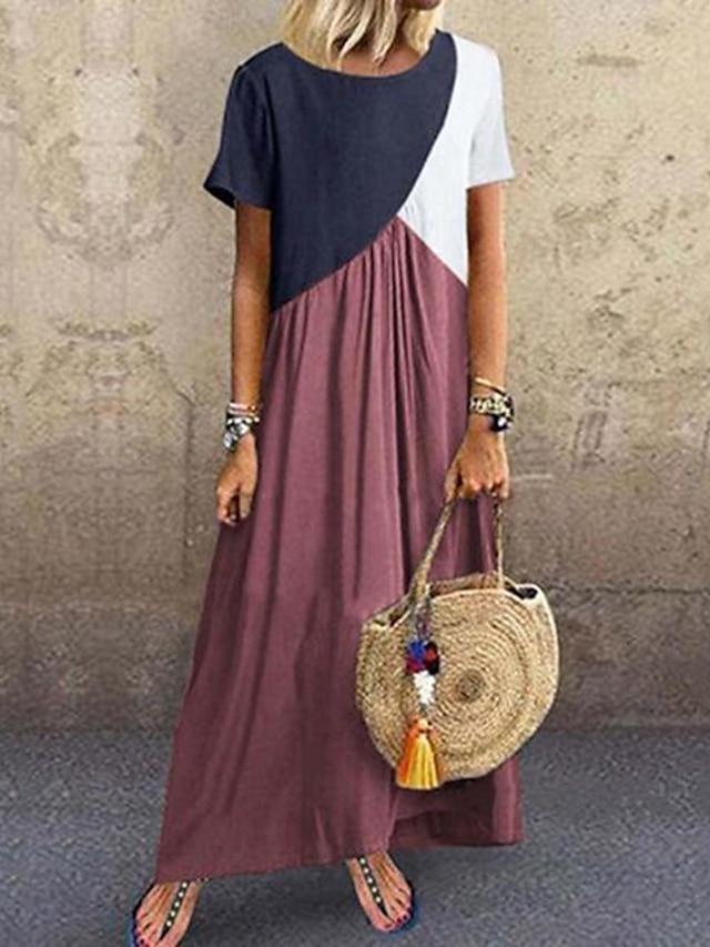 damskiftklänning maxilång klänning lila gul vingrå khakigrön mörkgrå brun kortärmad färgblock patchwork vår sommar rund hals casual plus storlek 2021 s m l xl xxl 3xl 4xl 5xl