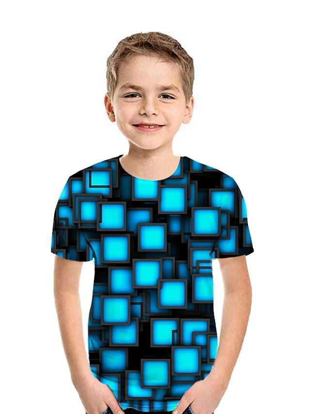 아동 남아 T 셔츠 티셔츠 짧은 소매 그래픽 기하학 3D 프린트 푸른 어린이 탑스 여름 활동적 어린이날