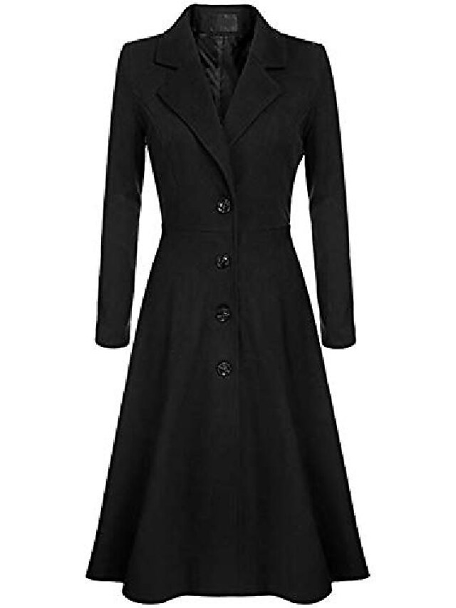 Women's Trench Coat WorkWear Daily Wear Date Fall Winter Spring Regular Coat V Neck Slim Elegant & Luxurious Jacket Long Sleeve Solid Color Vintage Style Purple khaki White