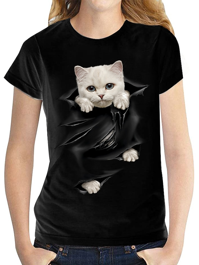 Kadın's 3D Kedi T gömlek Kedi Grafik 3D Desen Yuvarlak Yaka Temel Üstler %100 Pamuk Beyaz Siyah