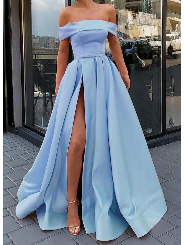 A-Linie Minimalistické Sexy Zásnuby Maturitní ples Šaty Pod rameny Bez rukávů Na zem Satén s Rozparek 2021