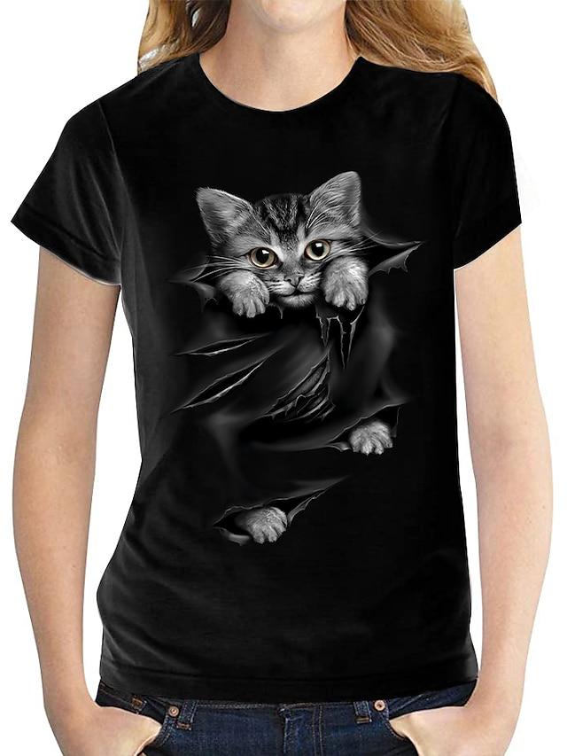 Damen 3D Cat T-Shirt Katze Grafik 3D Druck Rundhalsausschnitt Grundlegend Oberteile 100% Baumwolle Weiß Schwarz