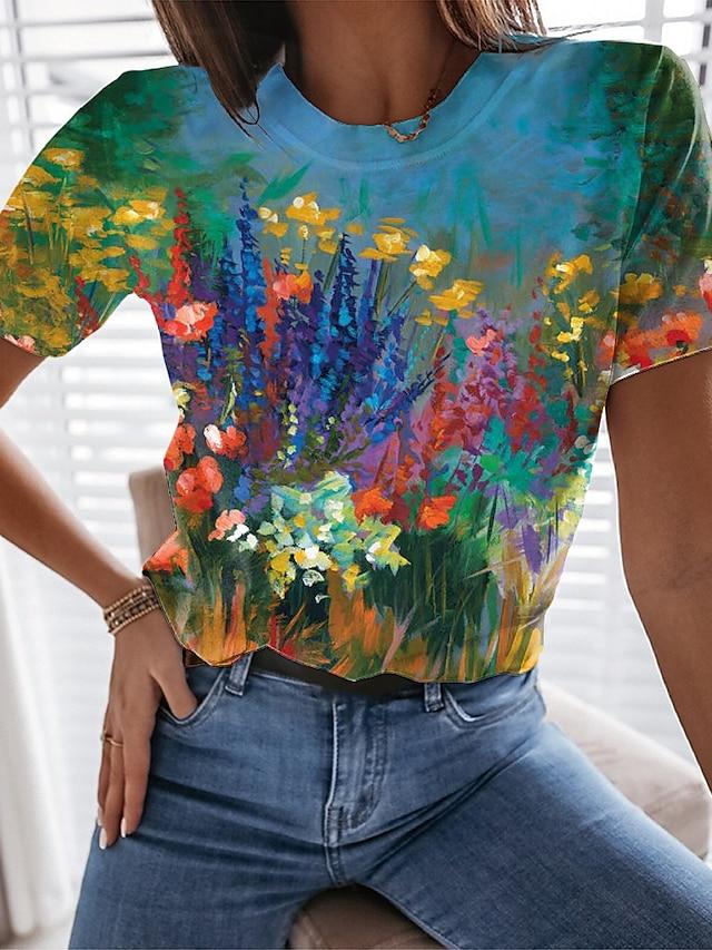 Dames Bloemen Thema Verf T-shirt Bloemen Grafisch Opdruk Ronde hals Basic Tops blauw Geel Klaver