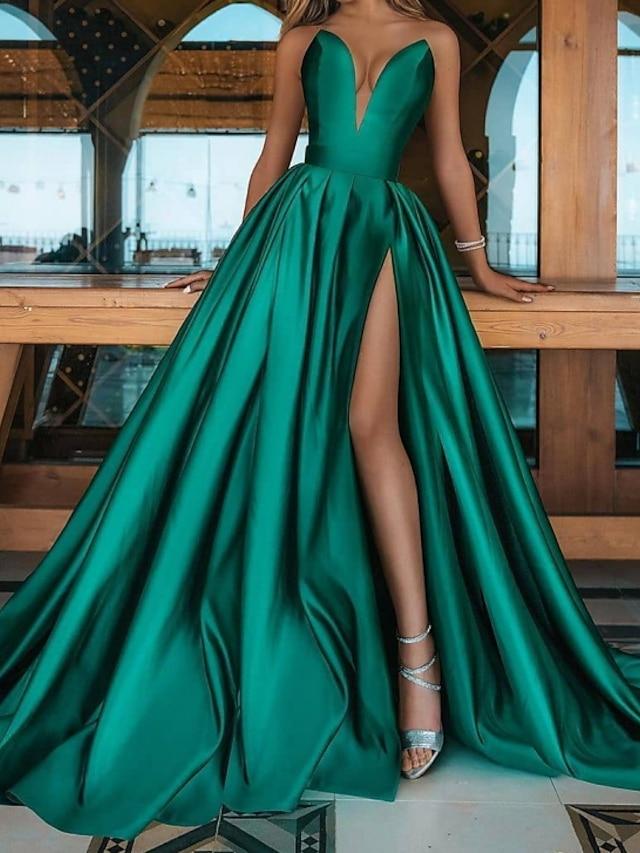 A-라인 미니멀리스트 섹시 댄스 파티 포멀 이브닝 드레스 V 넥 민소매 스윕 / 브러쉬 트레인 새틴 와 주름 트임 2021