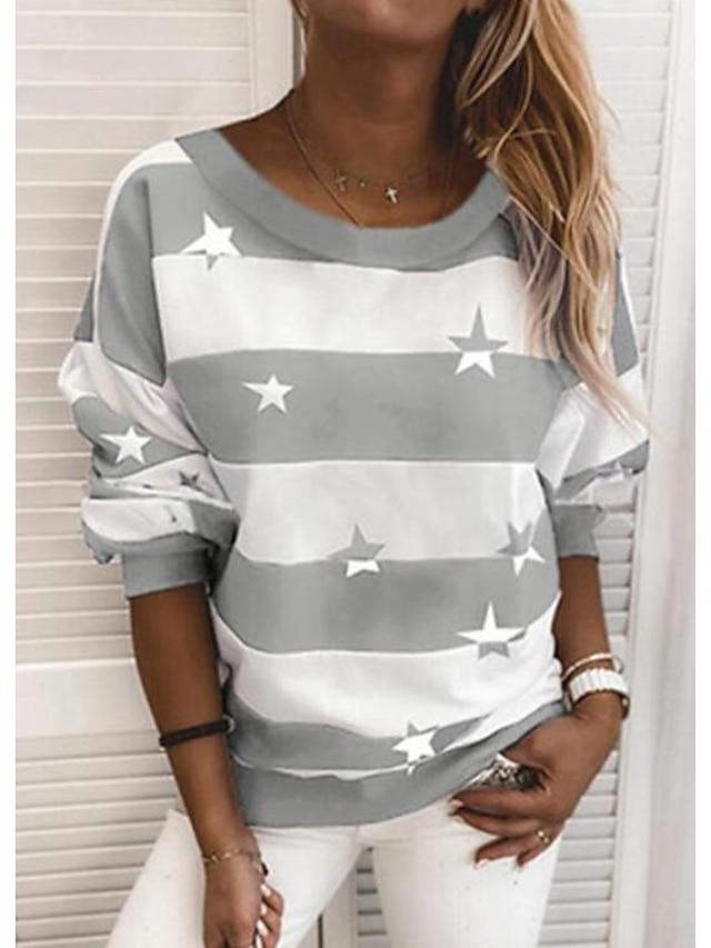 Women's Hoodie Sweatshirt Striped Daily Basic Hoodies Sweatshirts  Blue Wine Gray