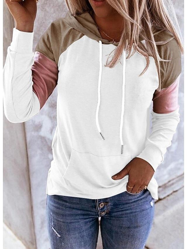 Women's Pullover Hoodie Sweatshirt Color Block Daily Weekend Casual Cute Hoodies Sweatshirts  Blue Blushing Pink Khaki