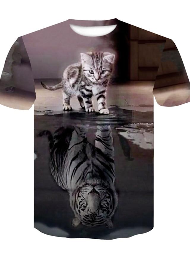 Men's Unisex Tee T shirt Shirt 3D Print Cat 3D Rivet Mesh Short Sleeve Casual Tops Basic Designer Animal Big and Tall Black / Gray / Summer