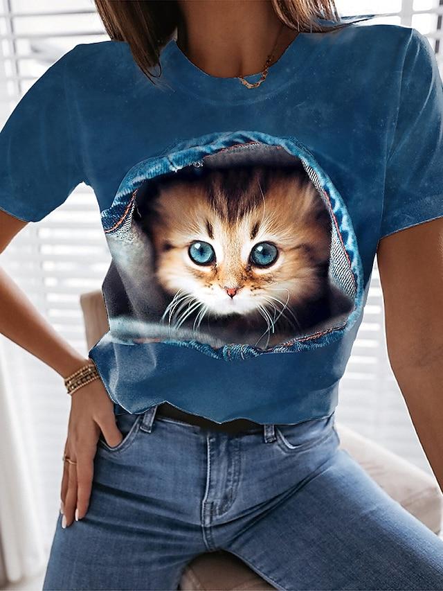 Kadın's 3D Kedi T gömlek Kedi Grafik 3D Desen Yuvarlak Yaka Temel Üstler Havuz Siyah Açık Mavi