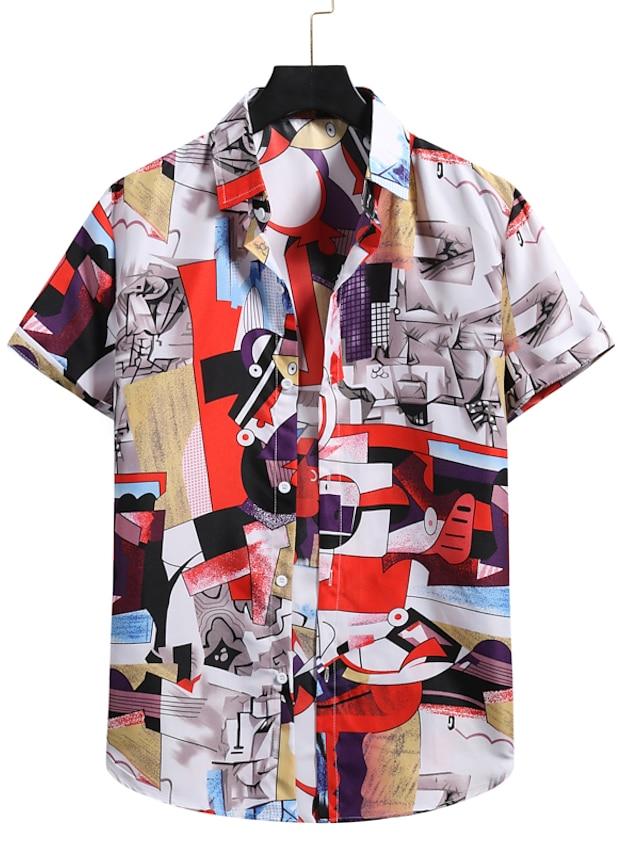 Herre Skjorte 3D-udskrivning Grafiske tryk Trykt mønster Kortærmet Ferierejse Toppe Knap ned krave Hvid / Strand