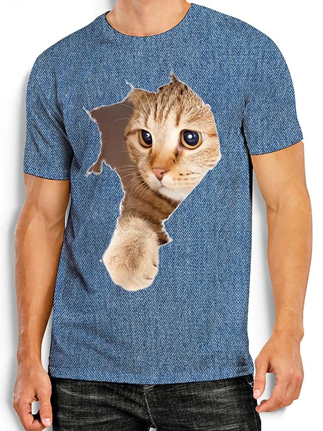 Ανδρικά Κοντομάνικα Μπλουζάκι Πουκάμισο Άλλες εκτυπώσεις Γάτα Γραφικά Σχέδια Ζώο Στάμπα Κοντομάνικο Καθημερινά Άριστος Βασικό Καθημερινό Θαλασσί