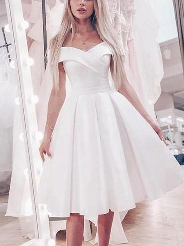 Princess A-Line Wedding Dresses Off Shoulder Knee Length Satin Short Sleeve Simple Little White Dress Cute with Pleats 2021