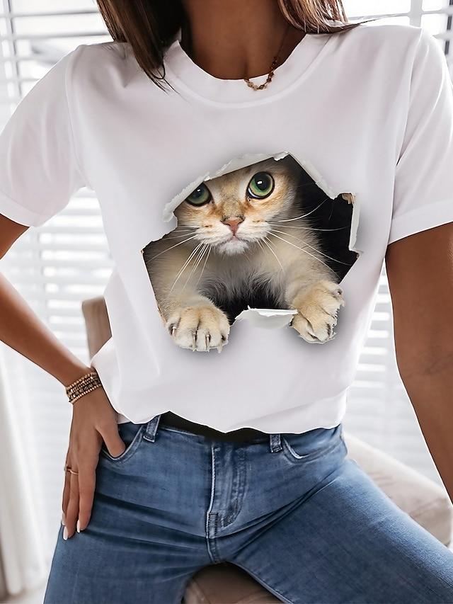 Per donna Gatto 3D maglietta Gatto Pop art 3D Con stampe Rotonda Essenziale Top 100% cotone Bianco Nero