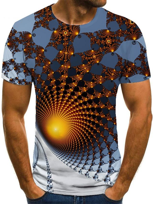 Herre T skjorte Skjorte 3D-utskrift Geometrisk 3D-utskrift Trykt mønster Kortermet Avslappet Topper Fritid Mote Rund hals Hvit