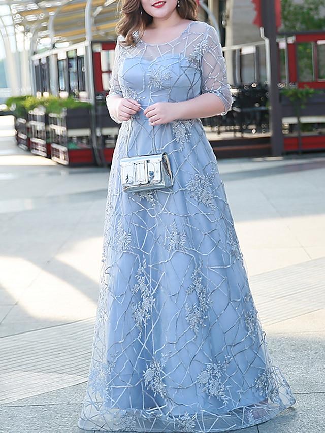 גזרת A מידה גדולה אלגנטית אורחת חתונה ערב רישמי שמלה אשליה חצי שרוול עד הריצפה תחרה עם ריקמה 2021