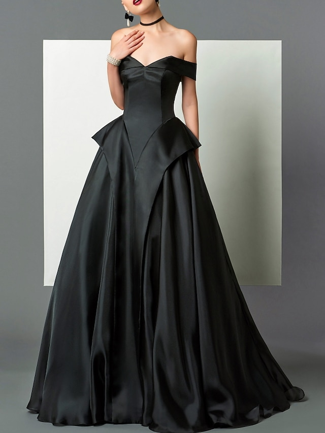 A-Line Beautiful Back Sexy Engagement Formal Evening Dress Strapless Sleeveless Floor Length Satin with Pleats 2021
