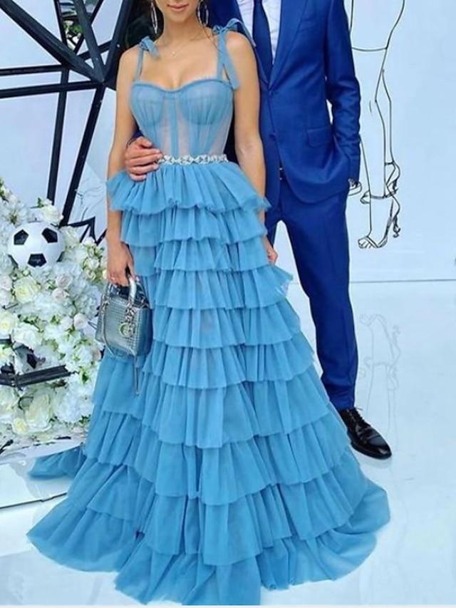 Linea-A Elegante Vintage ▾ Fidanzamento Serata formale Vestito Con bretelline Senza maniche Strascico a terra Tulle con Con spacco A balze 2021