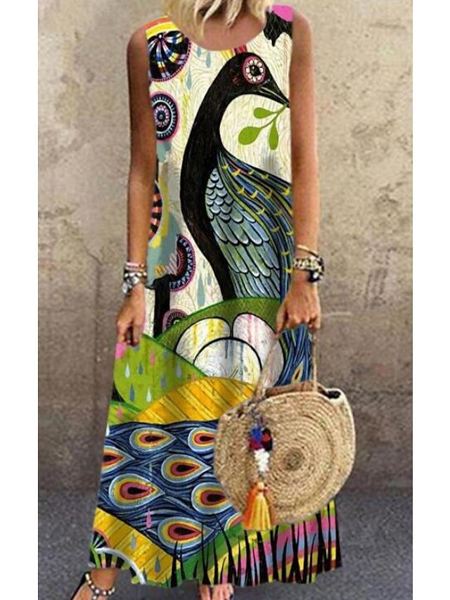 Kadın's Vardiyalı Elbise Maks haljina Sarı Kolsuz Paisley Desen Bahar Yaz Yuvarlak Yaka Günlük Salaş 2021 S M L XL XXL 3XL 4XL 5XL