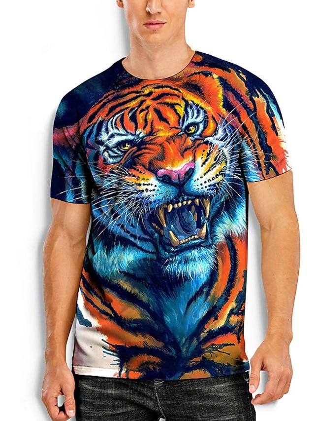 Herr T-shirts T-shirt 3D-tryck Grafiska tryck Tiger Djur Tryck Kortärmad Dagligen Blast Grundläggande Ledigt Blå