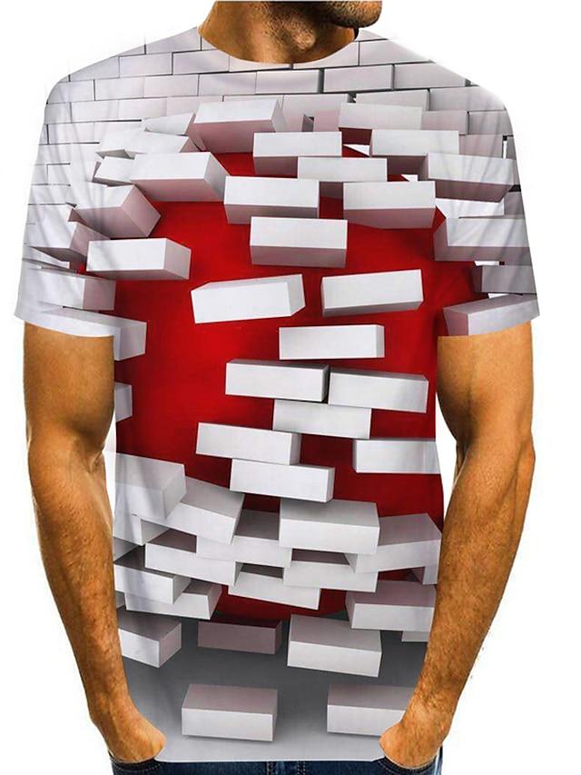 Erkek T gömlek Gömlek 3D Baskı Grafik 3D 3D Desen Kısa Kollu Günlük Üstler Temel Günlük Yuvarlak Yaka Gri / Yaz