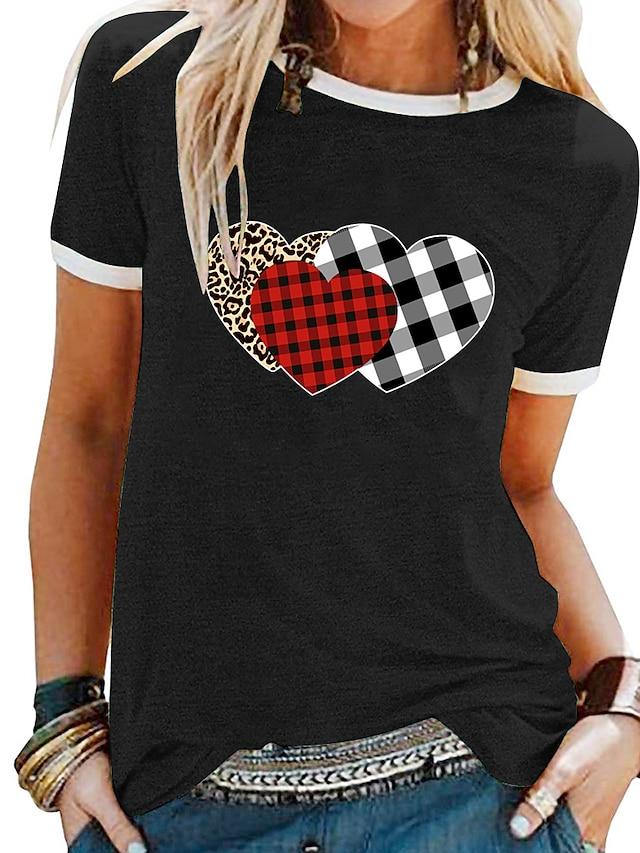Women's T shirt Plaid Heart Patchwork Print Round Neck Tops Basic Basic Top White Black Blue