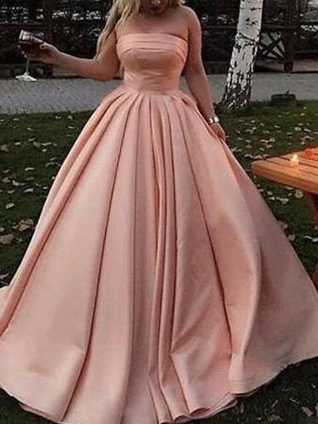 Βραδινή τουαλέτα Μινιμαλιστική Κομψό Επισκέπτης γάμου Χοροεσπερίδα Φόρεμα Στράπλες Αμάνικο Μακρύ Σατέν με Πλισέ 2021